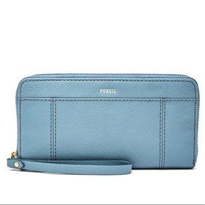 FOSSIL   RFID Blocking Wallet   Trendy Pastel Blue